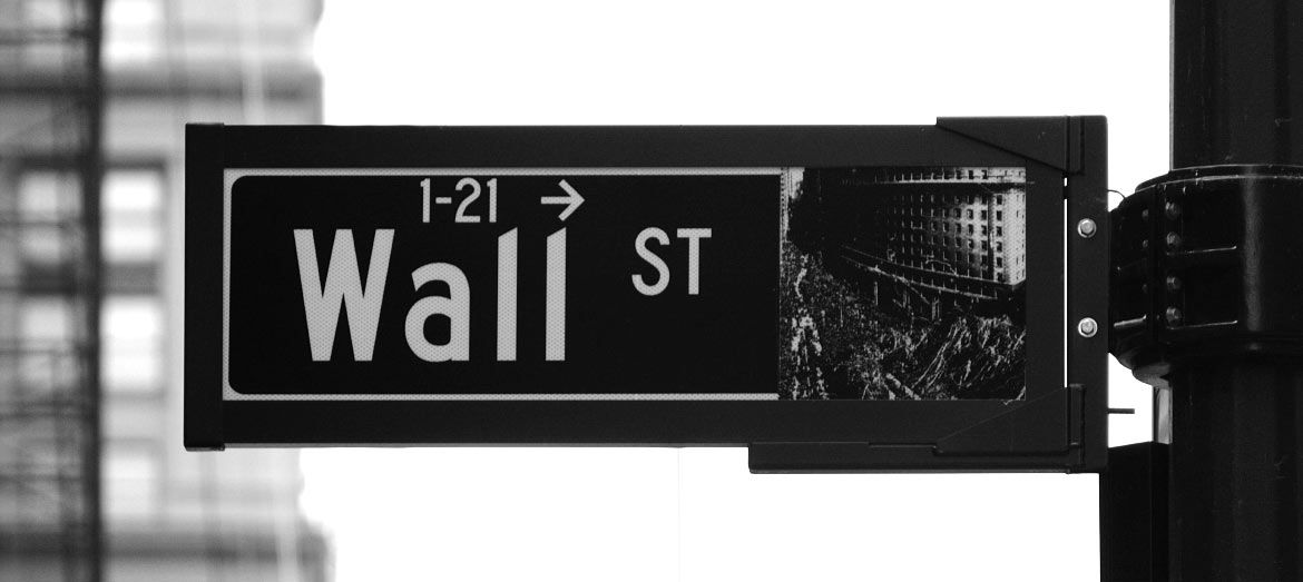 Wall Street Sign in black and white