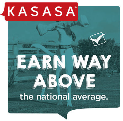 """Kasasa blue image with text """"earn way above the national average"""""""